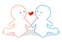Baby love. Two babies with heart, illustration for labels, kids stores, cards, etc Stock Image