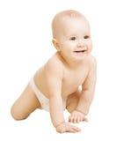 Baby in Luier, die Weinig Jong geitje kruipen Geïsoleerd het Portretwit van het zuigelings Actief Kind Royalty-vrije Stock Fotografie