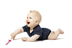 Baby Lying On Belly Royalty Free Stock Photography