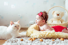 Baby lying on a blanket and looking on a cat Stock Images