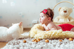 Baby lying on a blanket and looking on a cat Royalty Free Stock Image