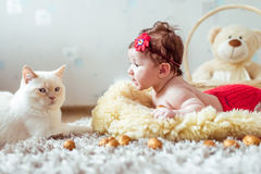 Baby lying on a blanket and looking on a cat Royalty Free Stock Photos