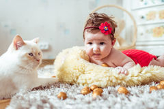 Baby lying on a blanket and looking on a cat Royalty Free Stock Images