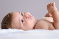 Baby lying on blanket of white hair Royalty Free Stock Images