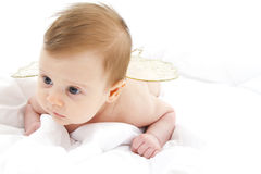 Baby lying her belly Royalty Free Stock Image