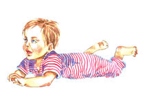 Baby lying on tummy. Hand Painted Watercolor Illustration Baby lying on tummy Stock Photography