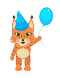 Baby lynx in the blue cap with the blue bouncy ball in the foot. Postcard for a birthday boy Stock Photos