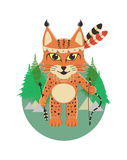 Baby lynx in the role of an Indian standing and holding in paws a bow and arrow on the background of the forest and the tipis. Royalty Free Stock Photo