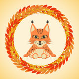 Baby lynx sits,framed by a border of autumn leaves Rowan. Vector illustration Royalty Free Illustration