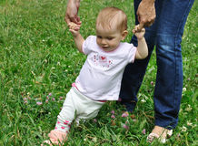 Baby make her first steps Stock Photo