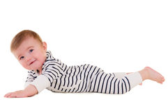 Baby makes developing exercises Royalty Free Stock Photos