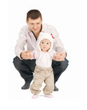 Baby making first steps with father help Stock Photos