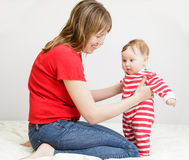 Baby making first steps Royalty Free Stock Photo