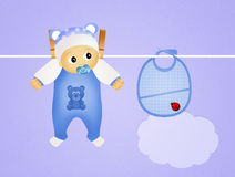 Baby male and blue bib Stock Photos