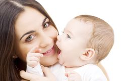 Baby and mama stock photo