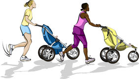 Baby Mama Joggers. Illustration with solid colors of two women running with babies in baby strollers Royalty Free Stock Photos
