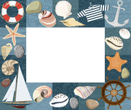 Baby marine photo frame or card. Vector Royalty Free Stock Photos