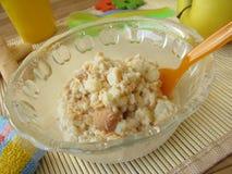 Baby mash with sponge cake Royalty Free Stock Photo