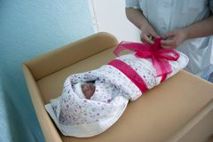 Baby in maternity hospital Royalty Free Stock Photos