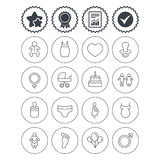 Baby and Maternity line icon. Pacifier, diapers. Royalty Free Stock Photos