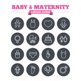 Baby and Maternity linear icons set. Thin outline Royalty Free Stock Images