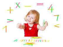 Baby with mathematics toys. Isolated on white Stock Photos
