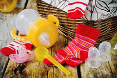 Baby matningsflaska Fotografering för Bildbyråer