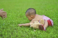 A baby in meadow. Crawl toward his parent Royalty Free Stock Photo
