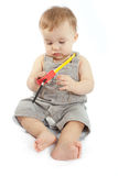 Baby with a measuring tape Stock Image