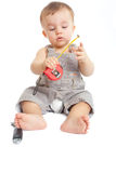 Baby with a measuring tape Royalty Free Stock Photography