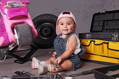 Baby mechanic Royalty Free Stock Images