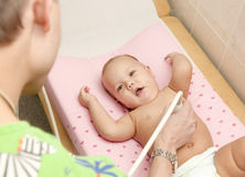 Baby medical ultrasound exam Stock Photography
