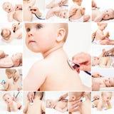 Baby medisch examen - de arts die hart controleren sloeg en longen met st stock afbeelding