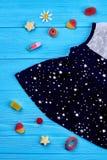Baby-meisje sleeveless kleding, suikergoed royalty-vrije stock foto
