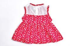 Baby-meisje witte en rode kleding Royalty-vrije Stock Fotografie