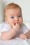 Baby met blauwe ogen Stock Fotografie