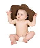 Baby met cowboyhoed die op wit wordt geïsoleerdo Royalty-vrije Stock Afbeeldingen