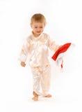 Baby met de hoed van de Kerstman Royalty-vrije Stock Afbeeldingen