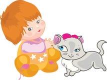Baby met een kat vector illustratie
