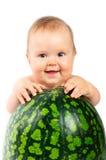 Baby met een watermeloen Stock Fotografie