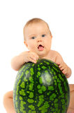 Baby met een watermeloen Royalty-vrije Stock Fotografie