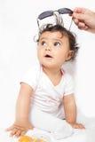 Baby met glazen Royalty-vrije Stock Foto