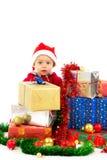Baby met Kerstmisgiften Royalty-vrije Stock Afbeelding