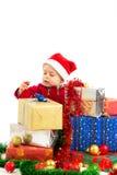 Baby met Kerstmisgiften Stock Afbeeldingen