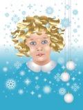 Baby met sneeuwvlokken en de ballen van Kerstmis Stock Fotografie