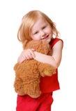 Baby met speelgoed die op wit wordt geïsoleerdr Royalty-vrije Stock Afbeelding