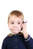 Baby met telefoon Stock Afbeeldingen