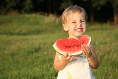 Baby met watermeloen royalty-vrije stock foto