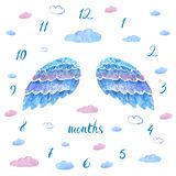 Baby milestone blanket with hand drawn blue watercolor wings, clo. Uds adn numbers in round on white background Stock Image