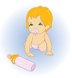 The baby with milk. The  little baby with milk Stock Images
